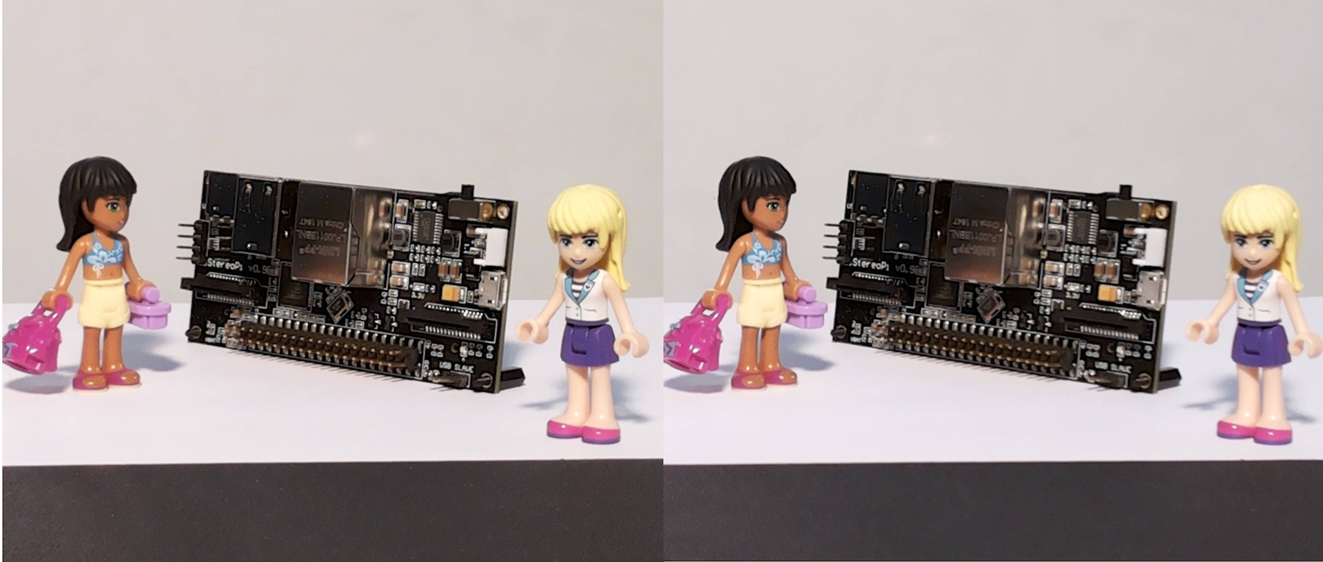 the stereopi and lego girls, r-l stereoscopic image